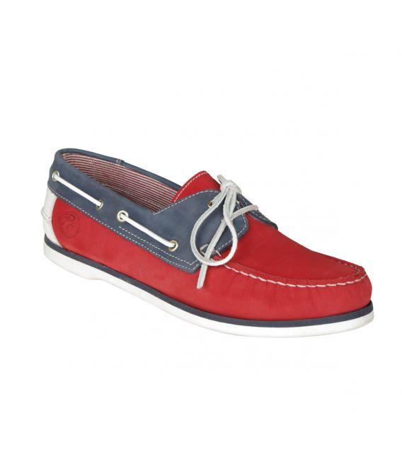 Chaussures bateaux rouge et bleu pour le costume