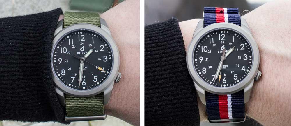 La Boldr Venture avec 2 bracelets nato différents.